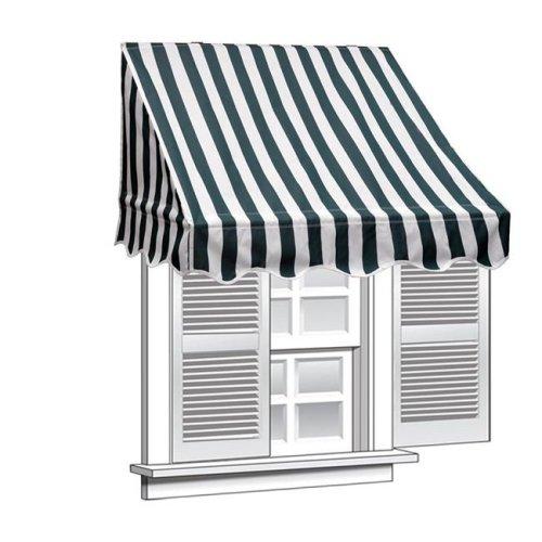 Aleko WAW4X2GWSTR00-UNB 4 x 2 in. Window Awning Door Canopy 4 ft. Decorator Awning, Green & White