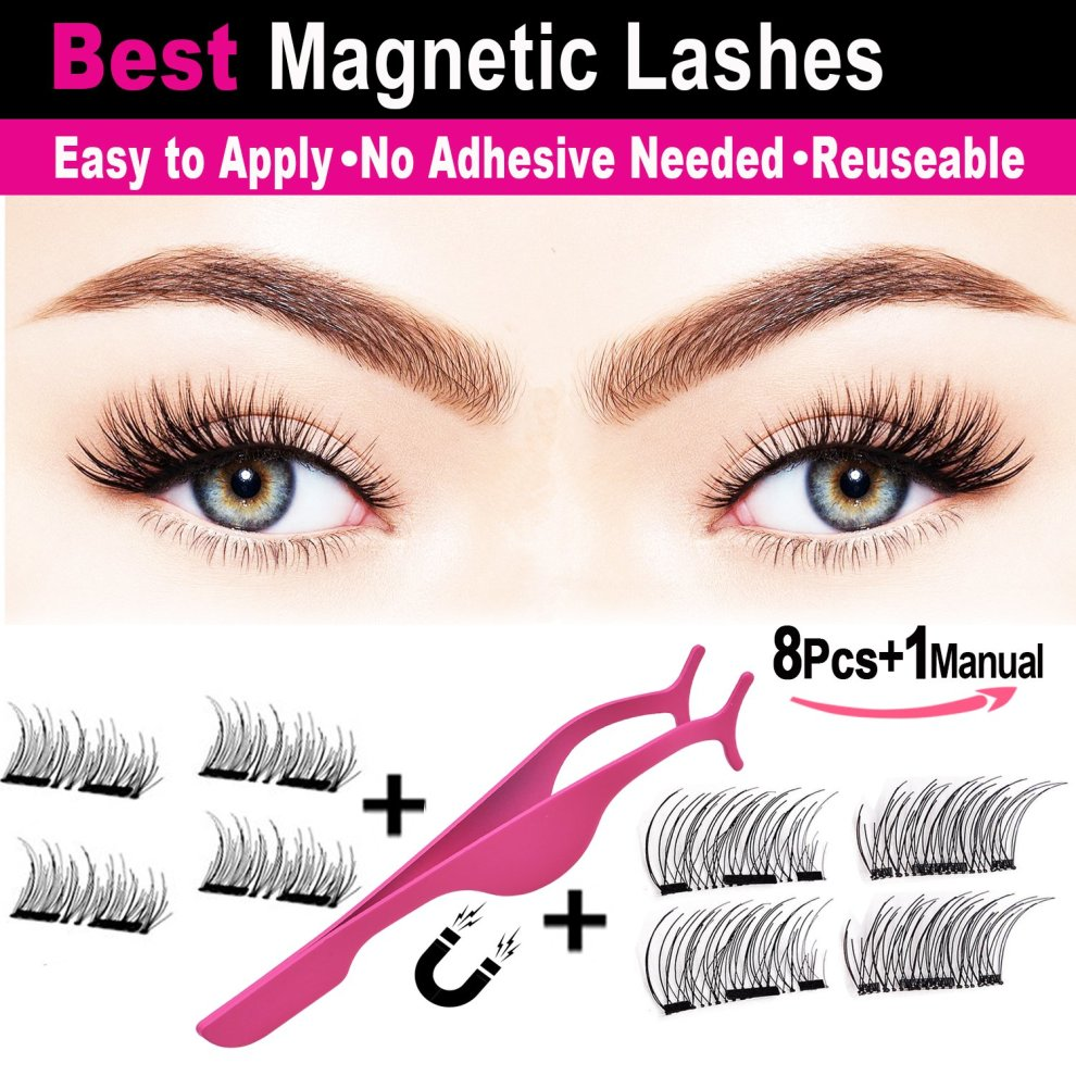 3D Magnetic Eyelashes Natural Look,Yumay Best Fake Eyelashes with False  Lashes Applicator, Lightweiht Handmade Eyelashes Extensions(2Pairs/8Pcs)