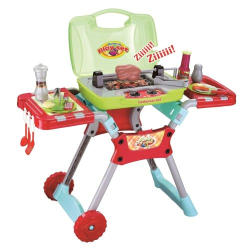 Vinsani Children Kids Red Light & Sound Barbeque BBQ Garden Outdoor Party Food Cooking Little Chef Pretend Role Play Toy Set