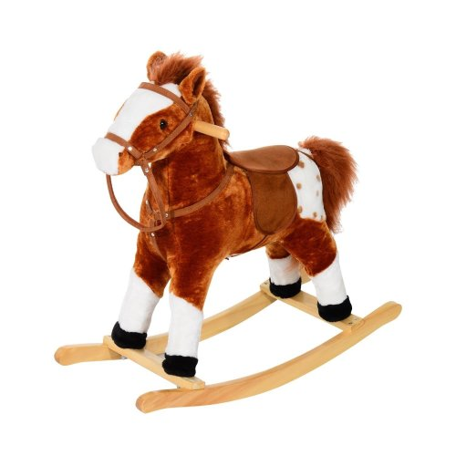 Homcom Kids' Toy Rocking Horse | Plush Riding Horse With Sounds