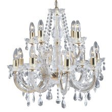 Searchlight 12 Light / 2 Tier Marie Therese Chandelier 699-12 Antique Brass