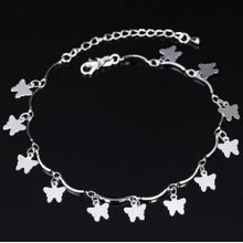 925 Sterling Silver Plated Butterfly Ankle Bracelet Anklet
