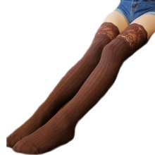1 Pair Knee-high Stockings Warm Lace Thigh Stockings Leg Warmers Socks-A03
