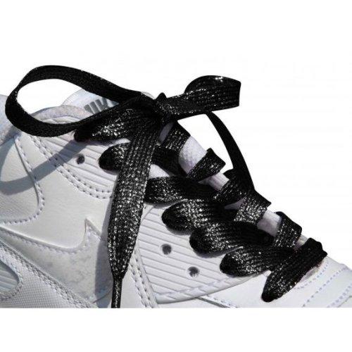 Black Coloured Metallic Sparkly Glitter Flat Shoelaces