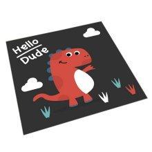 Square Cute Cartoon Children's Rugs, Black And Cartoon Dinosaurs