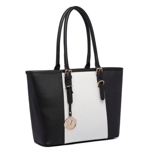 Miss Lulu Women Handbag Stripe Shoulder Bag PU Leather Tote Black
