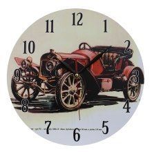 Home Decoration Nostalgic Convertible Car Scene MDF Wall Clock 28cm