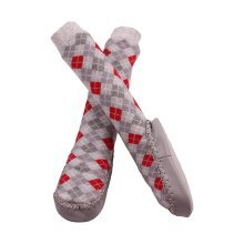 Minene Grey and Red Sock Slippers (6-12 Months)