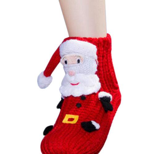 Cartoon Hosiery Socks Anti-skid Slipper Socks Christmas Socks-Santa Claus
