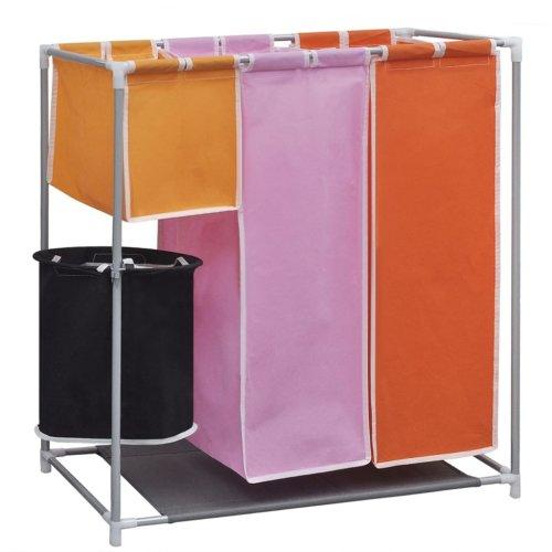 Removable 3-Section Laundry Washing Basket Bag Sorter Hamper with a Washing Bin
