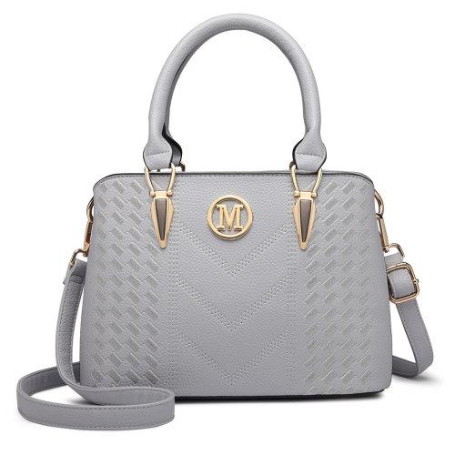 Miss Lulu Women Handbag Shoulder Bag Pu Leather Medium Tote Cross Body Bag Light Grey