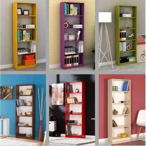Coloured 5-Tier Bookshelf | 5-Shelf Bookcase