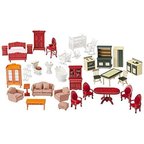 Melissa & Doug Classic Victorian Wooden And Upholstered Dollhouse Furniture (35 Pcs)