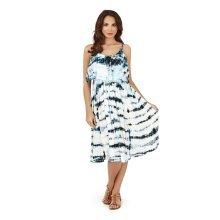 Ladies, Pistachio, Tie Dye Striped Pleat Overlay Short Dress, Blue Waves