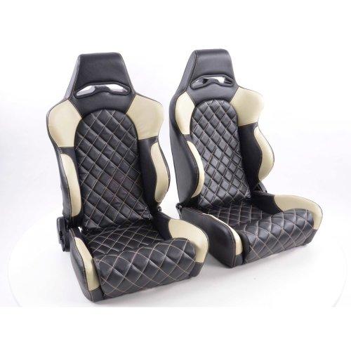 Sportseat Set Las Vegas artificial leather black/beige seam beige