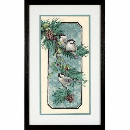 D03199 - Dimensions Stamped X Stitch - Chickadees on a Branch