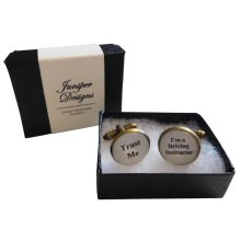 """Handcrafted """"Trust Me I'm a Driving Instructor"""" Cuff links  - Excellent Valentine's Day, Christmas, thank you or birthday gift"""