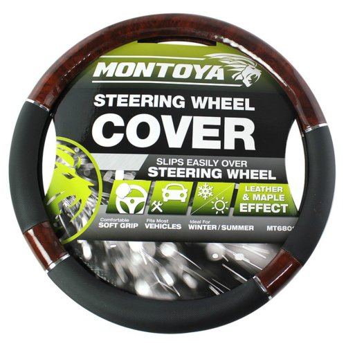 Montoya Steering Wheel Cover Black And Maple Wood Leather Look Fits Car Or Van