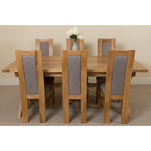 Vermont Sold Oak 200cm Extending Dining Table with Stanford Dining Chairs