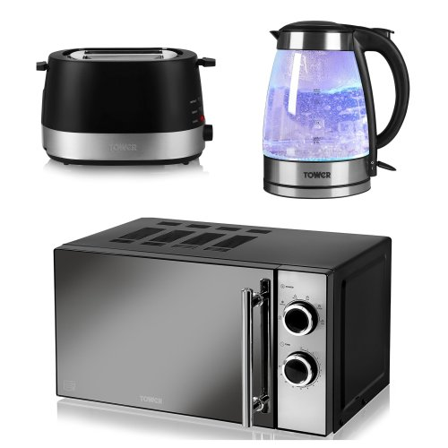 Black Manual Microwave, 800 W, 20 L; 1.7L Illuminating Glass Kettle and a Black 2 Slice Toaster