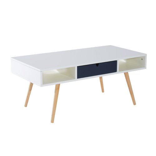 Homcom Rectangular Wooden Coffee Table   Retro Storage Table