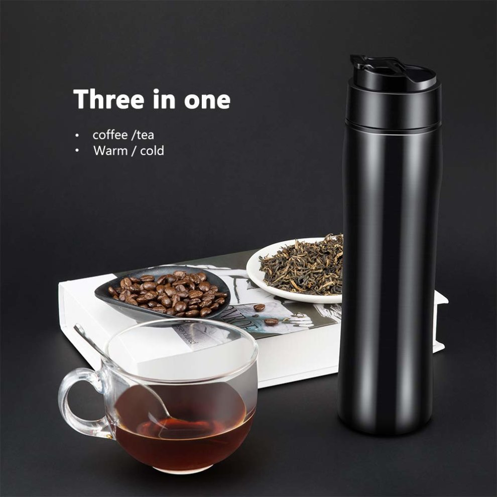 16d45b40fcb ... Yimaler French Press Travel Mug Stainless Steel Vacuum Coffee Mug Cold/  Hot Brew Coffee Original ...