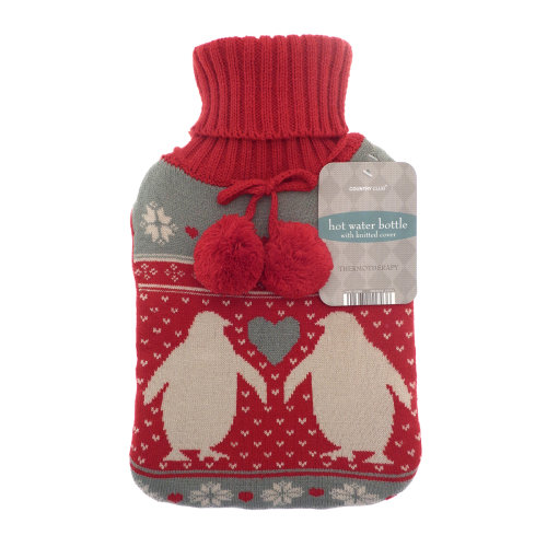 Country Club Trendy Knit Hot Water Bottle, Penguin