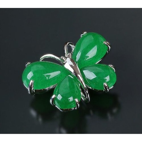 Women Gifts Fashion Butterfly Shaped Shining Brooches Pins EMERALD