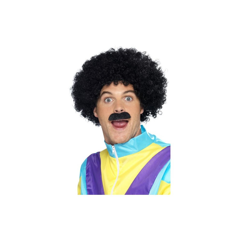 Short Afro Wig Fro /& Afro Comb Attached Pick Adult Mens Fancy Dress Costume