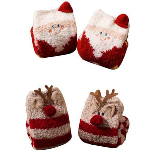 2 Pairs Soft Fuzzy Sleeping Socks Slipper Socks Floor Socks-Santa Claus & Elk