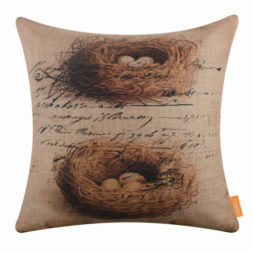 "18""x18"" Vintage Bird Nest Design Burlap Pillow Cover Cushion Cover"