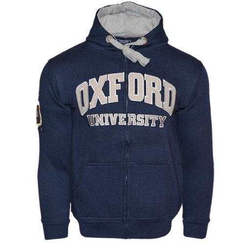 OU129 Licensed Zipped Unisex Oxford University Hooded Sweatshirt Navy