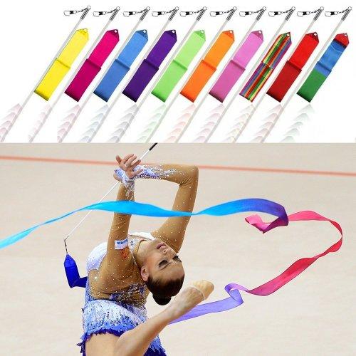 4 metres Rhythmic Gymnastics Ribbon with Twirling Dance Baton Rod
