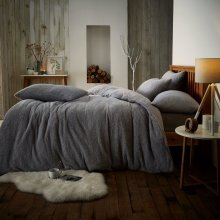New Teddy Fleece Quilt / Duvet Cover with Pillow case Grey Colour