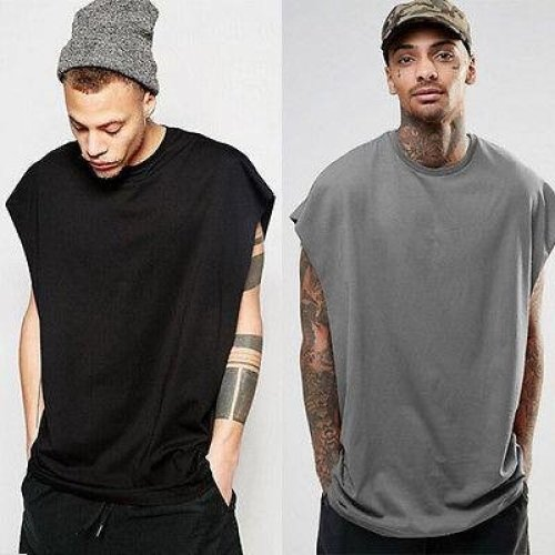 New Brand ITFABS Stylish Hot Fashion Men Loose Fit Top Shirt Singlet Workout Blank Hip Hop Street Style Tee Black Grey