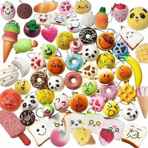 Karids squishies 10 pcs pack Jumbo Medium Mini Soft Squishy Cake/Panda/Bread/Buns Phone Straps Scented