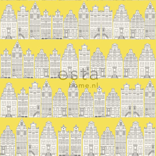wallpaper Amsterdam canal houses yellow - 137712