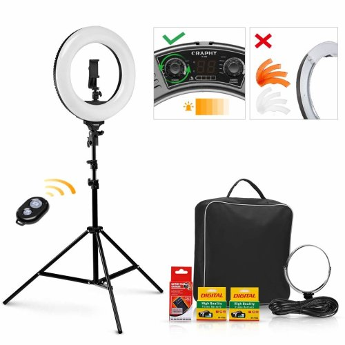 CRAPHY LED Ring Light 14'' 40W, 3200-5600K Bi-Color Dimmable Rechargeable Camera Photo Video Ring Light Kit with Bluetooth Remote Control, Light...