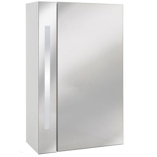ODYSSEY - Mirror Bathroom Cabinet / Shaver Socket / Lights - White / Silver