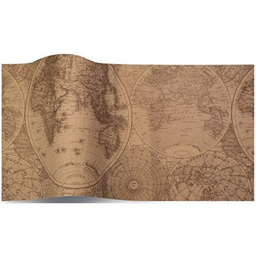 Olde World Map Suttons Tissue Wrap 5 sheets of 70 x 50 cm luxury tissue  wrapping paper