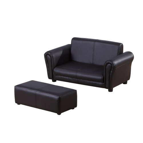 Homcom 2 Seater Sofa Childrens Double Seat Couch W/ Footstool