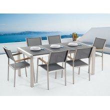 Outdoor Dining Set for 6 - Black Granite Table Top - Grey Chairs - GROSSETO