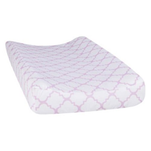 Trend Lab 101751 Orchid Bloom Quatrefoil Changing Pad Cover - Purple & White