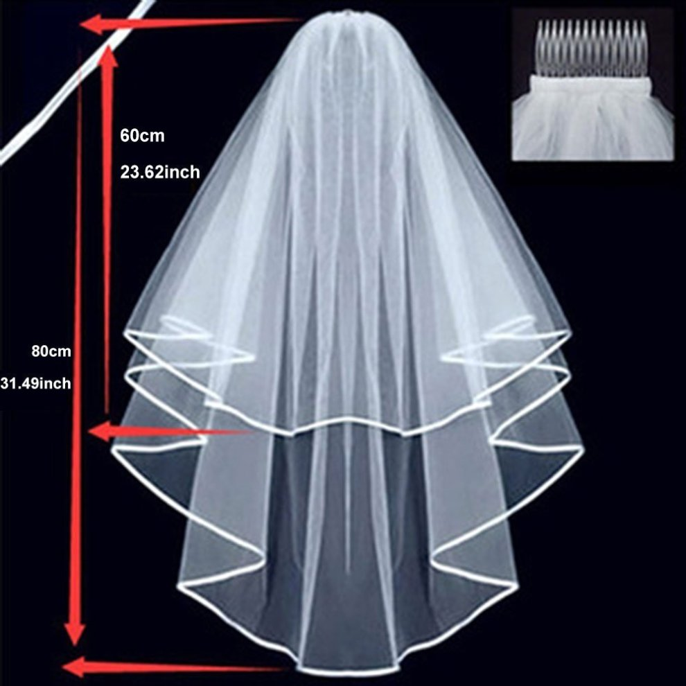 Veil Comb White With Gold Bride Bachelorette to Be Hen Night Wedding Party UK