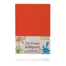 Dovecraft A4 Foam Sheets - 8 Sheets in 4 colours - Yellow/Orange