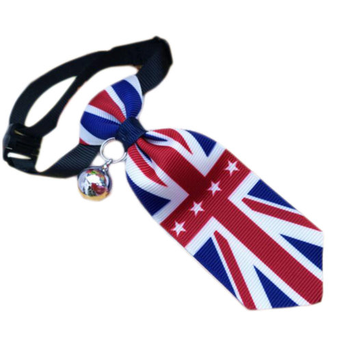 England Style Pet Collar Tie Adjustable Bowknot Cat Dog Collars with Bell-B06