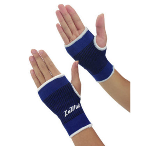 Pair of Elastic Palm Support Wrist Gloves Brace Hand Protector Gym Sports - Blue