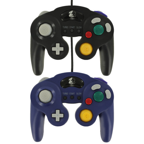 Wired vibration turbo controller for GameCube GC - 2 pack purple & black ZedLabz
