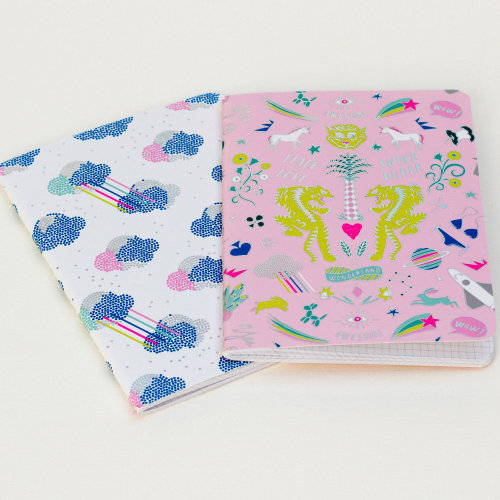 Unicorn Set of 2 Pink and Cloud Notebooks Gift