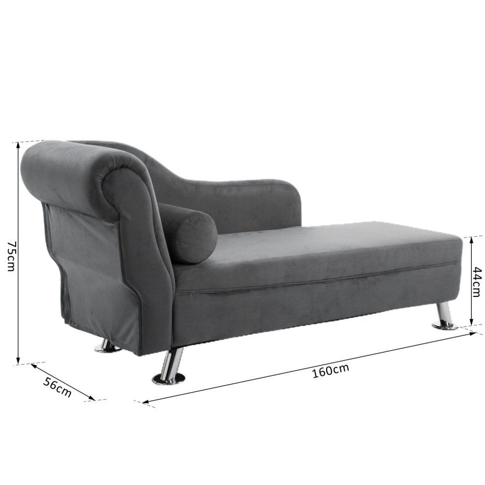 Hom Grey Chaise Longue Sofa & Bolster Cushion on Buy